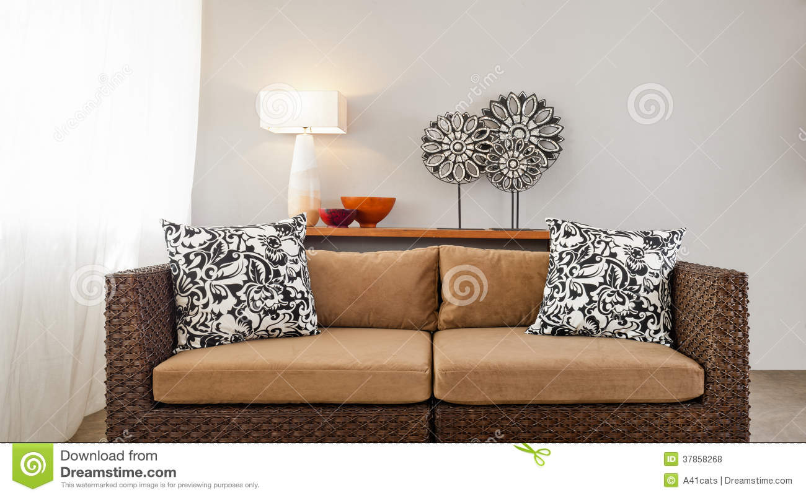 Elegant Beige Brown Sofa In Interior Setting. Checkered, Bright.