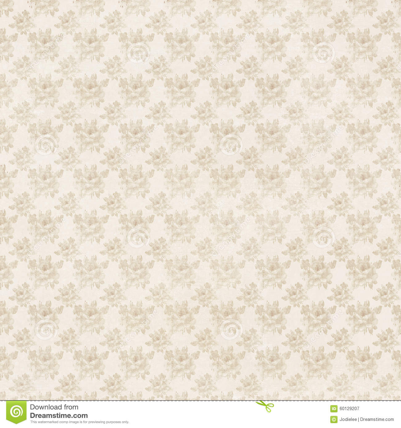 Beige And Cream Antique Roses Floral Repeat Background