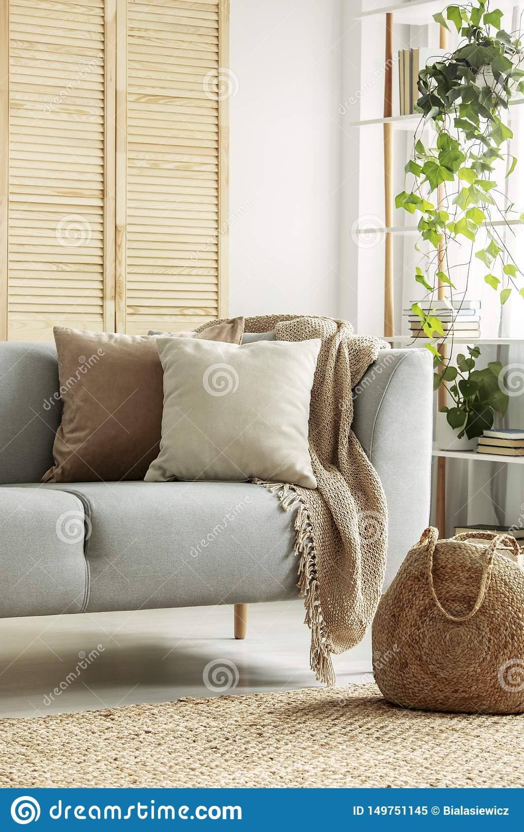Beige Cushions On Gray Sofa In Neutral Living Room Stock