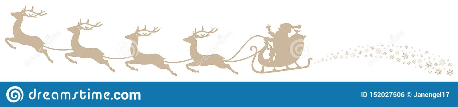 Beige de Santa And Flying Reindeers Swirl del trineo de la Navidad