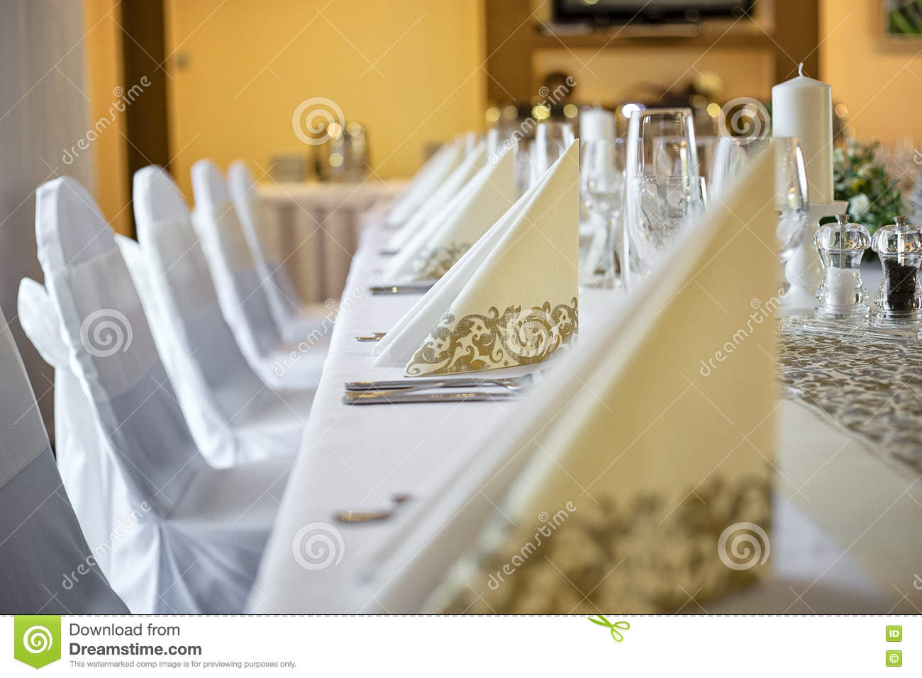 Beige Decorative Paper Napkins On Wedding Table Stock Photo Image Of Table Glasses 81379648