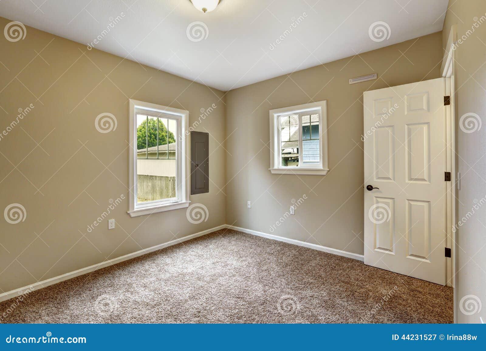 Beige empty room with brown carpet floor stock image for Bedroom ideas with beige walls