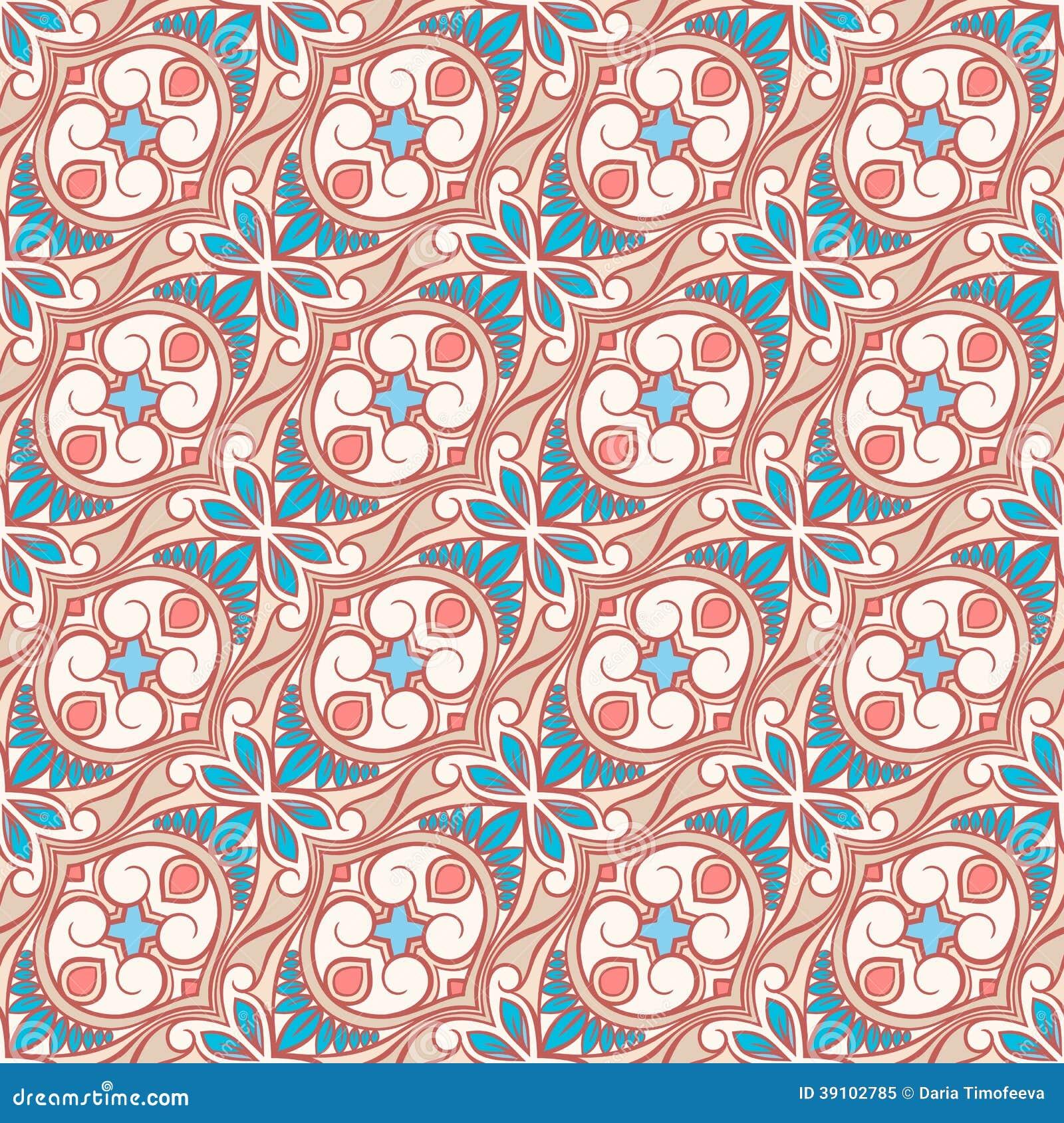 Beige en blauw bloemenpatroon met wervelingen
