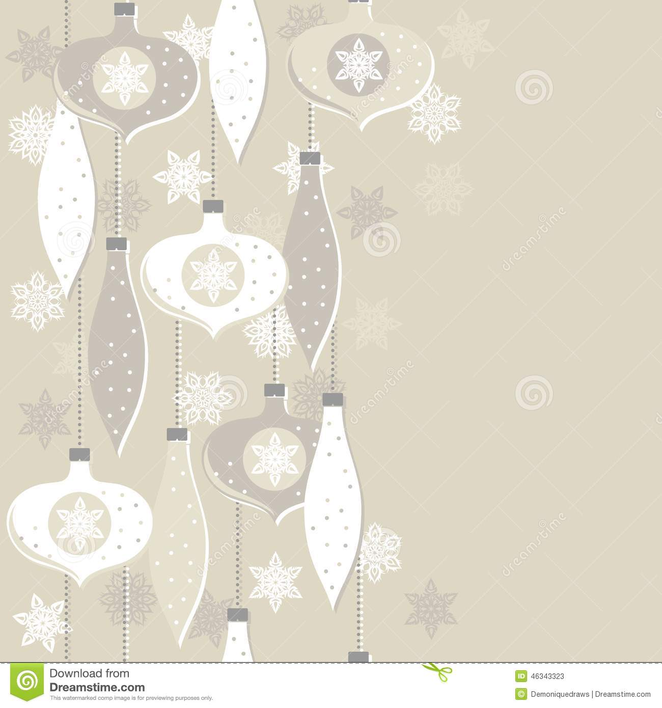 Beige Glass Balls And Lace Snowflakes Seamless Vertical
