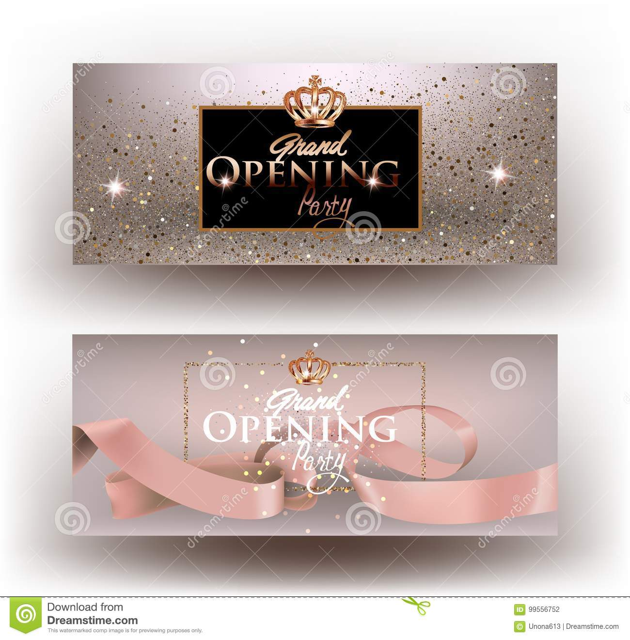 Beige grand opening party invitation cards with sparkling dust, frame and ribbon.