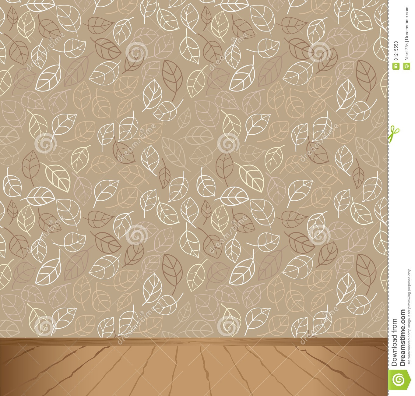 Vector interior leafs pattern for wallpaper and wooden floor