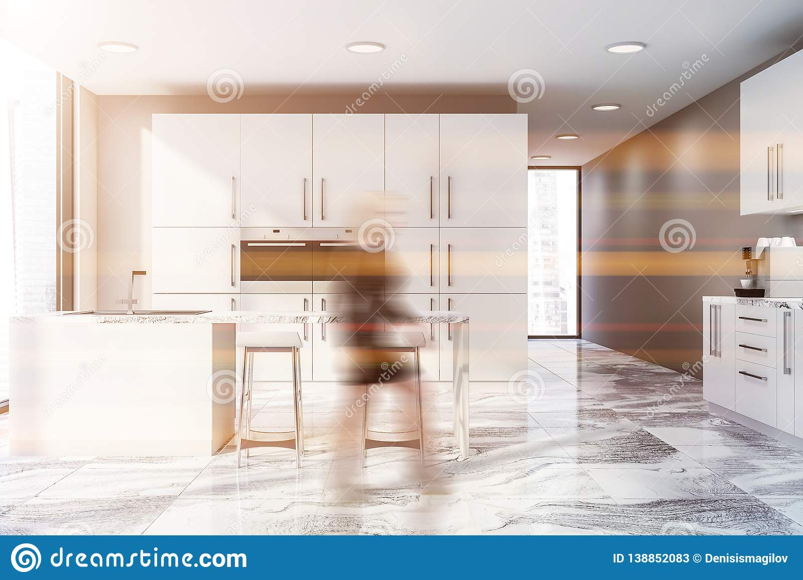 Beige Kitchen With Countertops And Bar Woman Stock Image Image Of