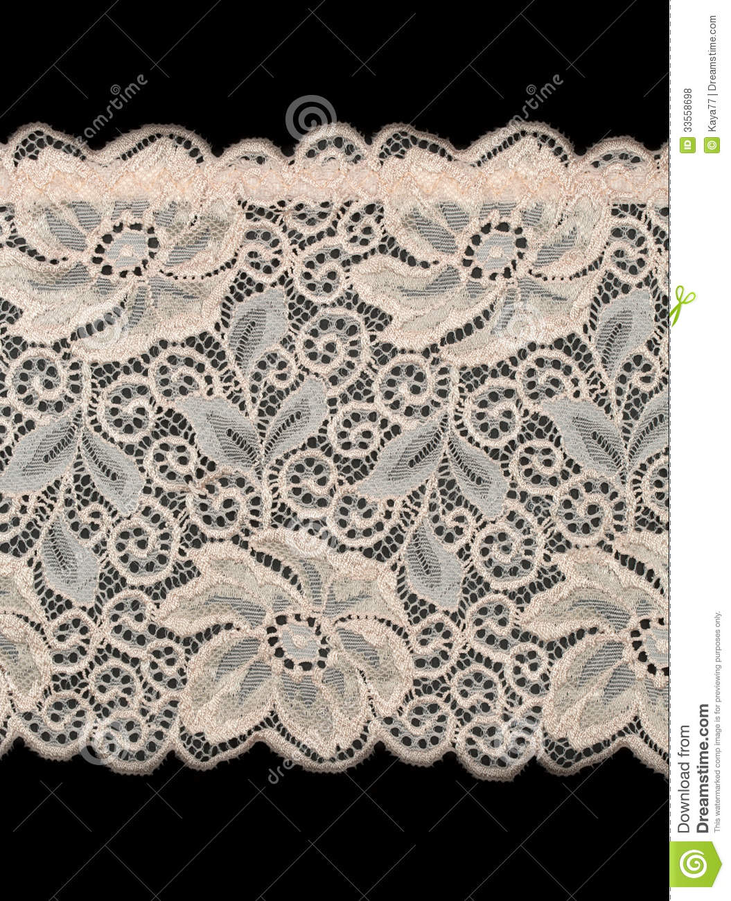 Black Flower And Bud Pattern Royalty Free Stock Photos: Beige Lace With A Pattern Of Large Flowers Royalty Free