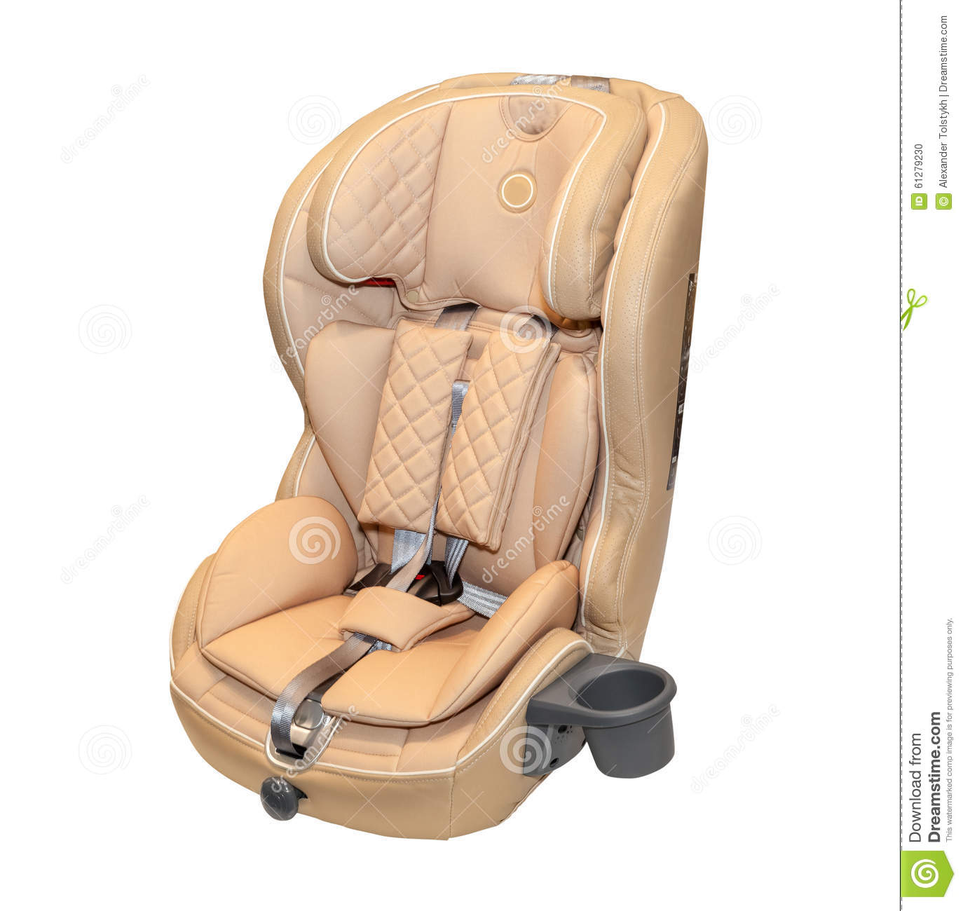 beige leather baby auto car seat isolated stock photo image 61279230. Black Bedroom Furniture Sets. Home Design Ideas