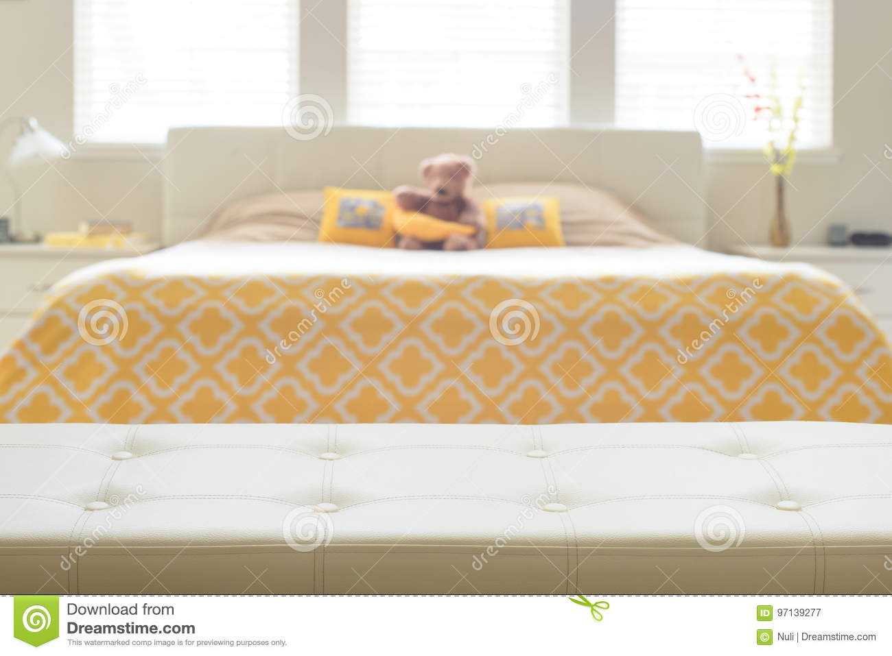 Tremendous Beige Leather Empty Bench In Bedroom Stock Image Image Of Ocoug Best Dining Table And Chair Ideas Images Ocougorg