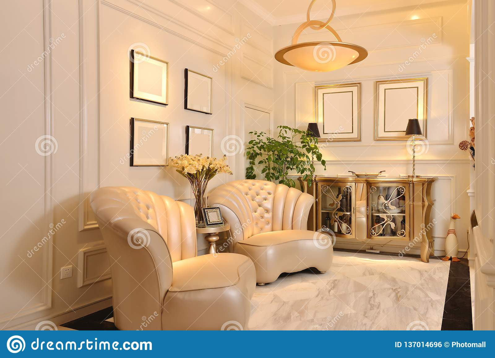 Living Room With Luxury Leather Sofa Stock Photo Image Of Dining Frame 137014696