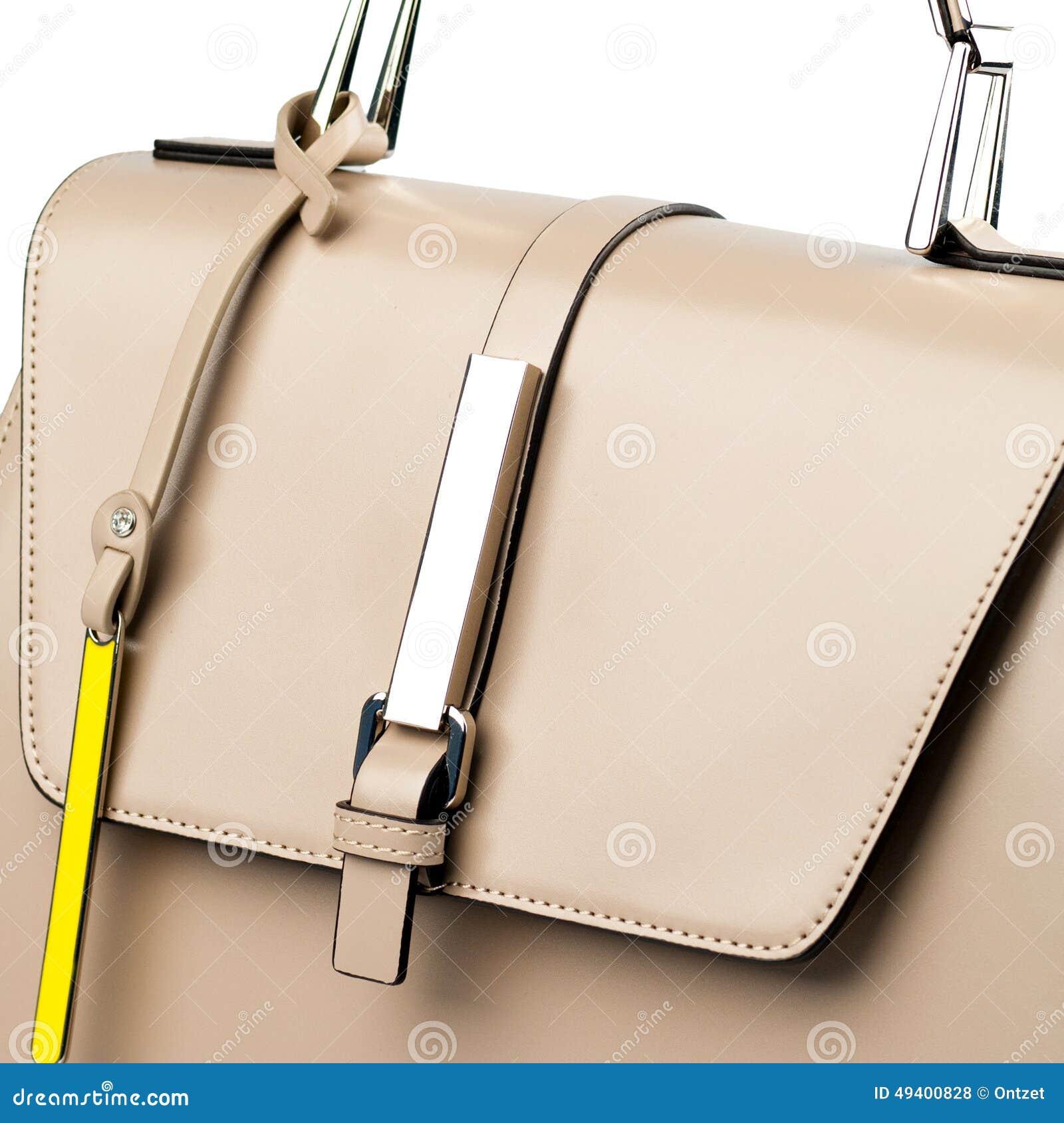 Download Beige Lederner Aktenkoffer Lokalisiert Auf Weißem Hintergrund Stockfoto - Bild von mädchen, beutel: 49400828