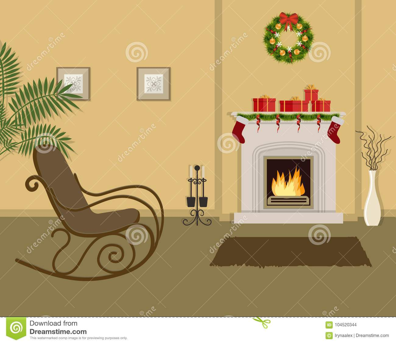 Strange Beige Living Room With Fireplace Decorated With Christmas Machost Co Dining Chair Design Ideas Machostcouk
