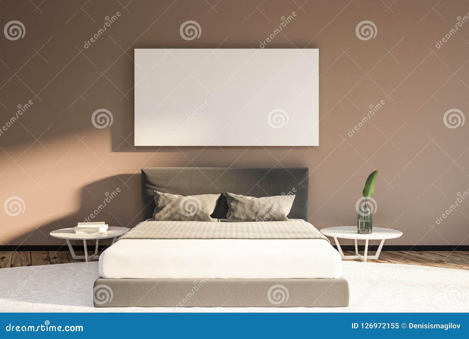 Beige Master Bedroom With White Bed Poster Stock Illustration Illustration Of Loft Estate 126972155