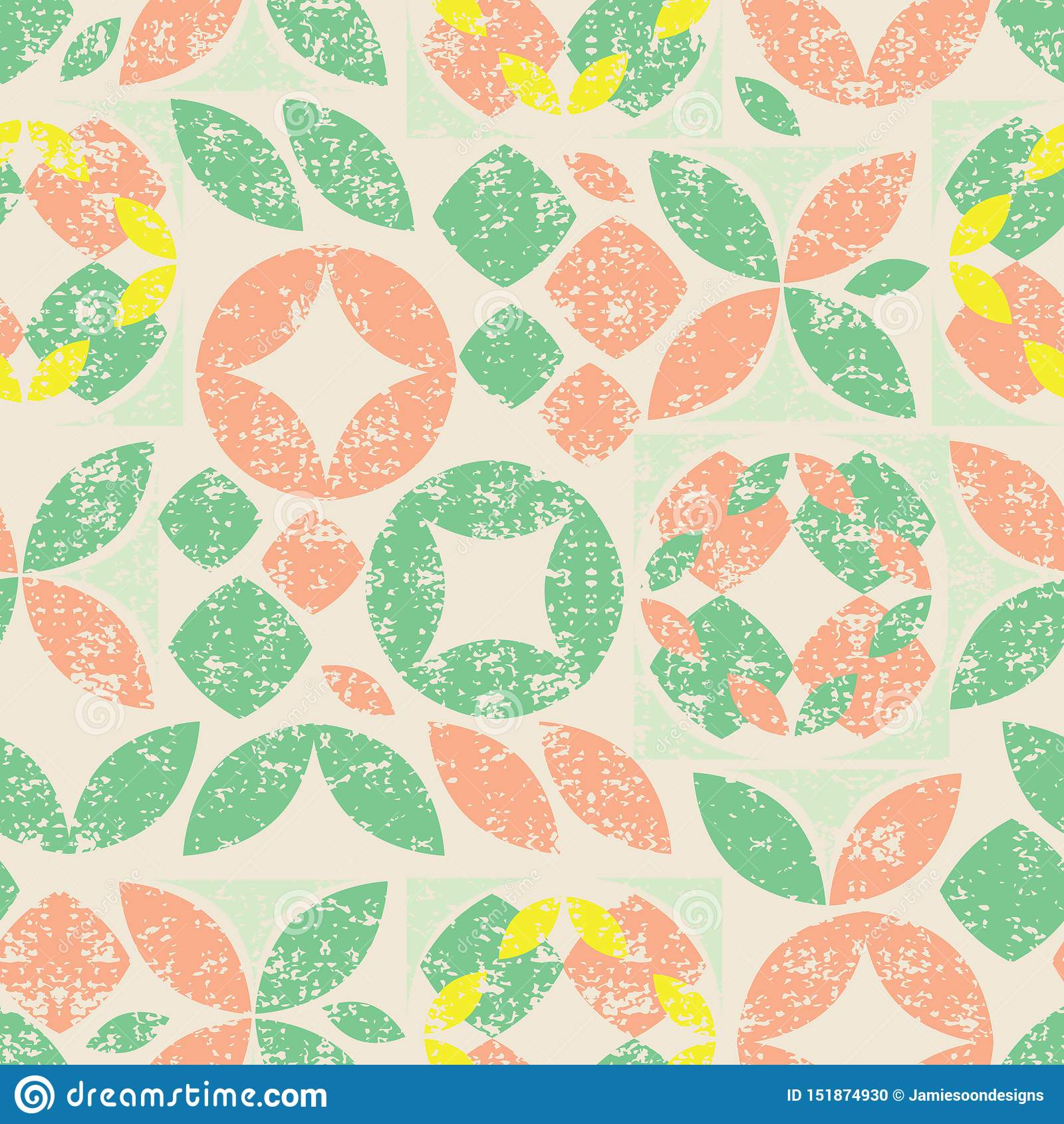 Beige nahtloses Muster des Vektors der bunten abstrakten geometrischen Form mit Schmutzbeschaffenheit Passend für Gewebe, Geschen
