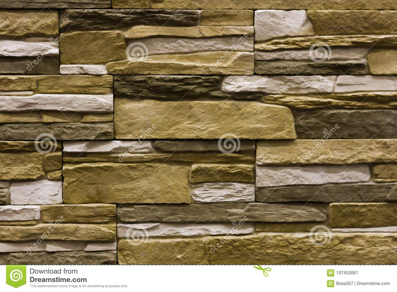 Beige Natural Stone Facade, Wall Tiles Texture Stock Image