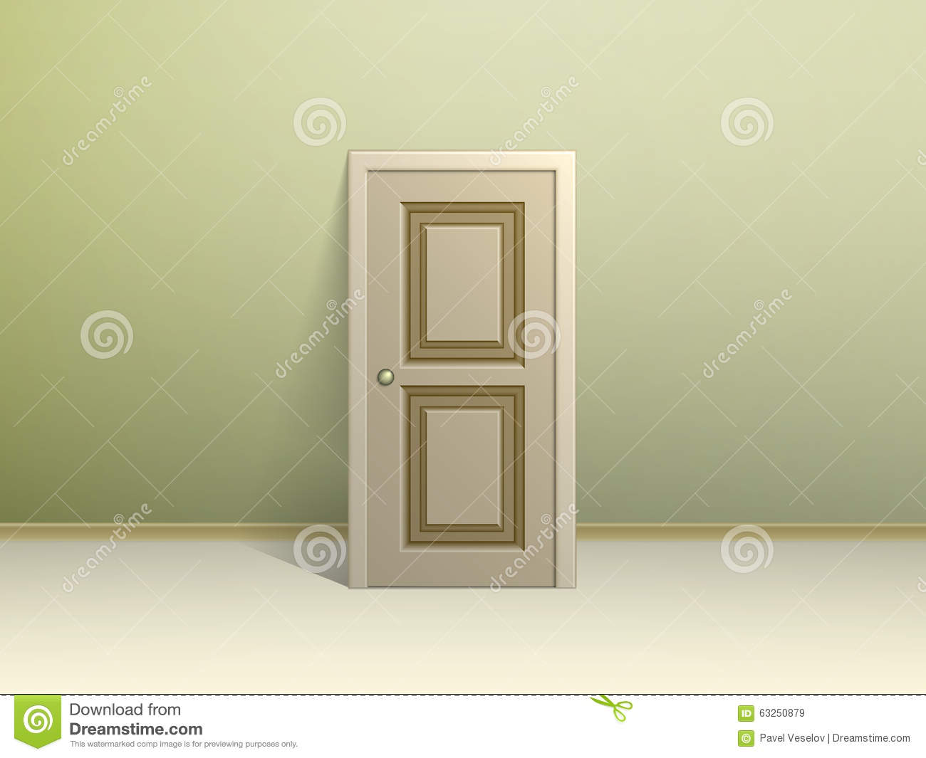 Beige Paneled Door Leaning Against The Wall For Display In A Room With