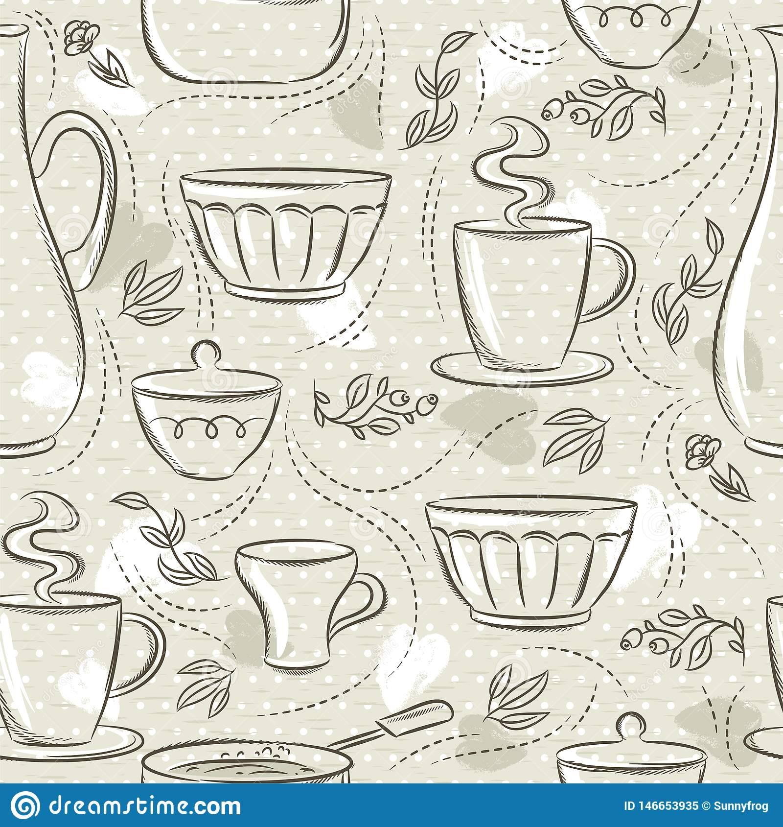 Beige seamless patterns with different tableware, flower, cup, pan. Ideal for printing onto fabric and paper or scrap booking