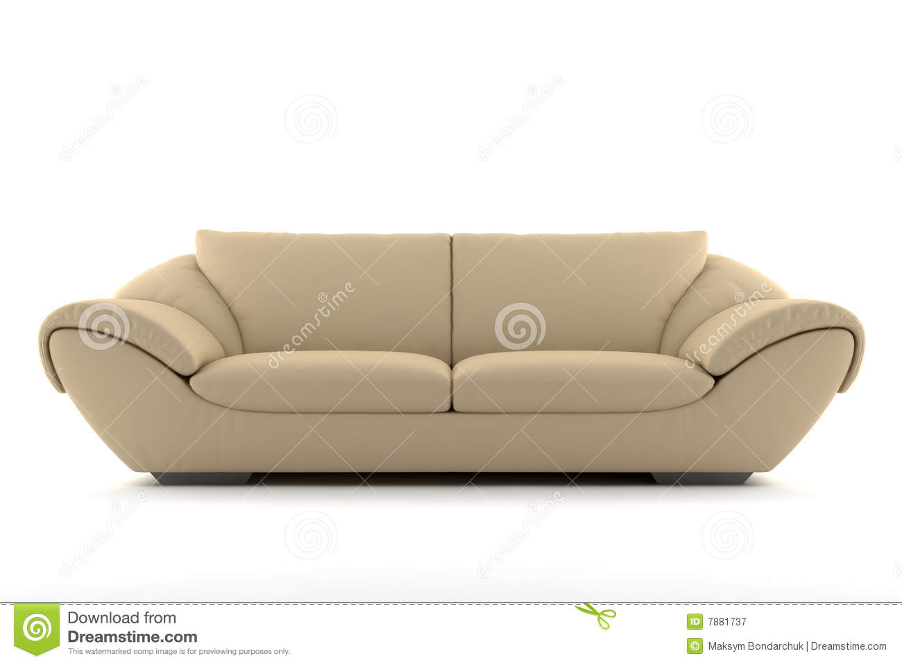 Beige Sofa Isolated White Royalty Free Stock graphy Image