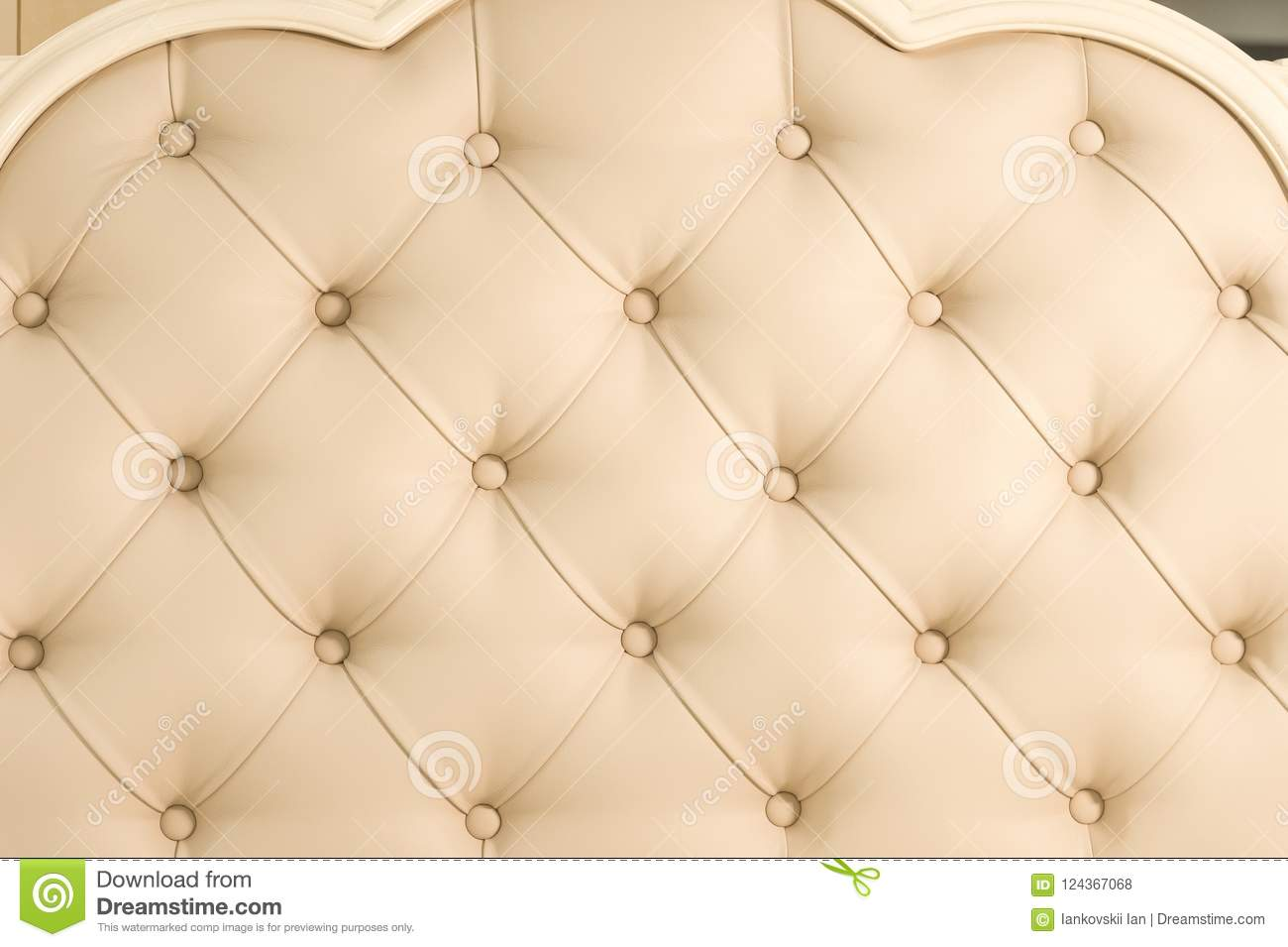 Beige Soft Tapestry Pattern Background With Symmetrical Buttons On The  Corners Of Diamonds. Soft And Expensive Furniture Elements. Luxury  Background.