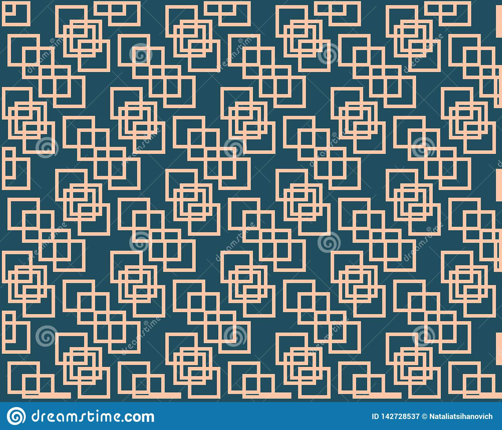 Beige squares are intertwined against a dark background, symmetrical pattern. Beige mesh on dark background geometric pattern design element, print for printing royalty free stock photography