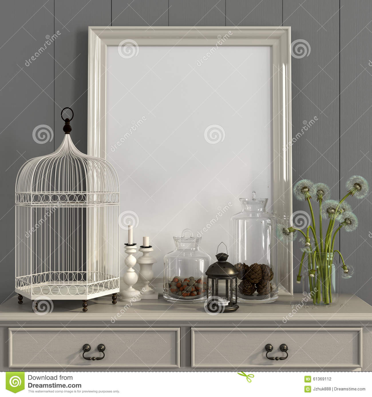 Download Beige Table With Poster Frame And Autumn Decorations Stock Photo - Image of interior, background: 61369112