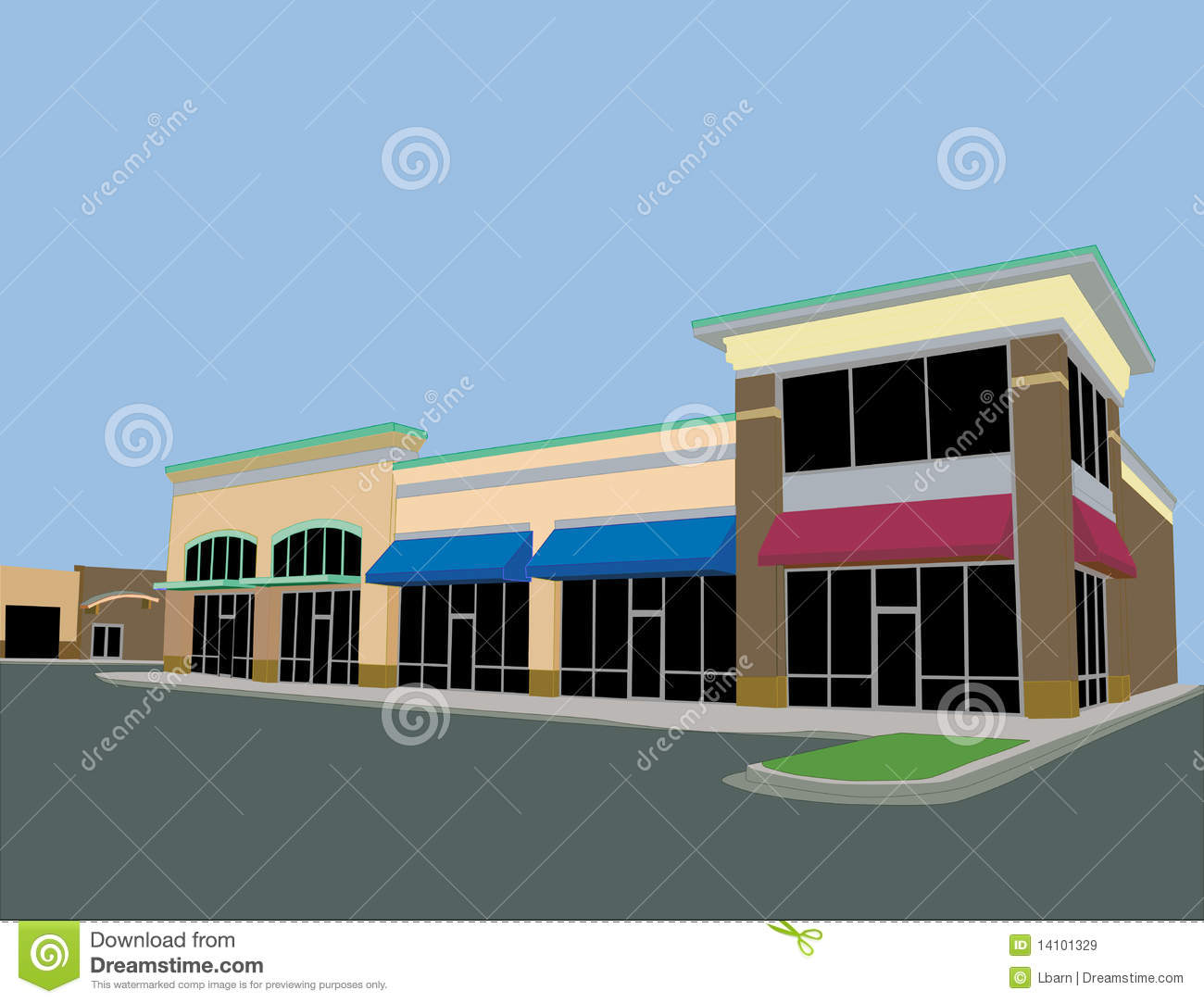 Beige Toned Strip Mall Royalty Free Stock Image