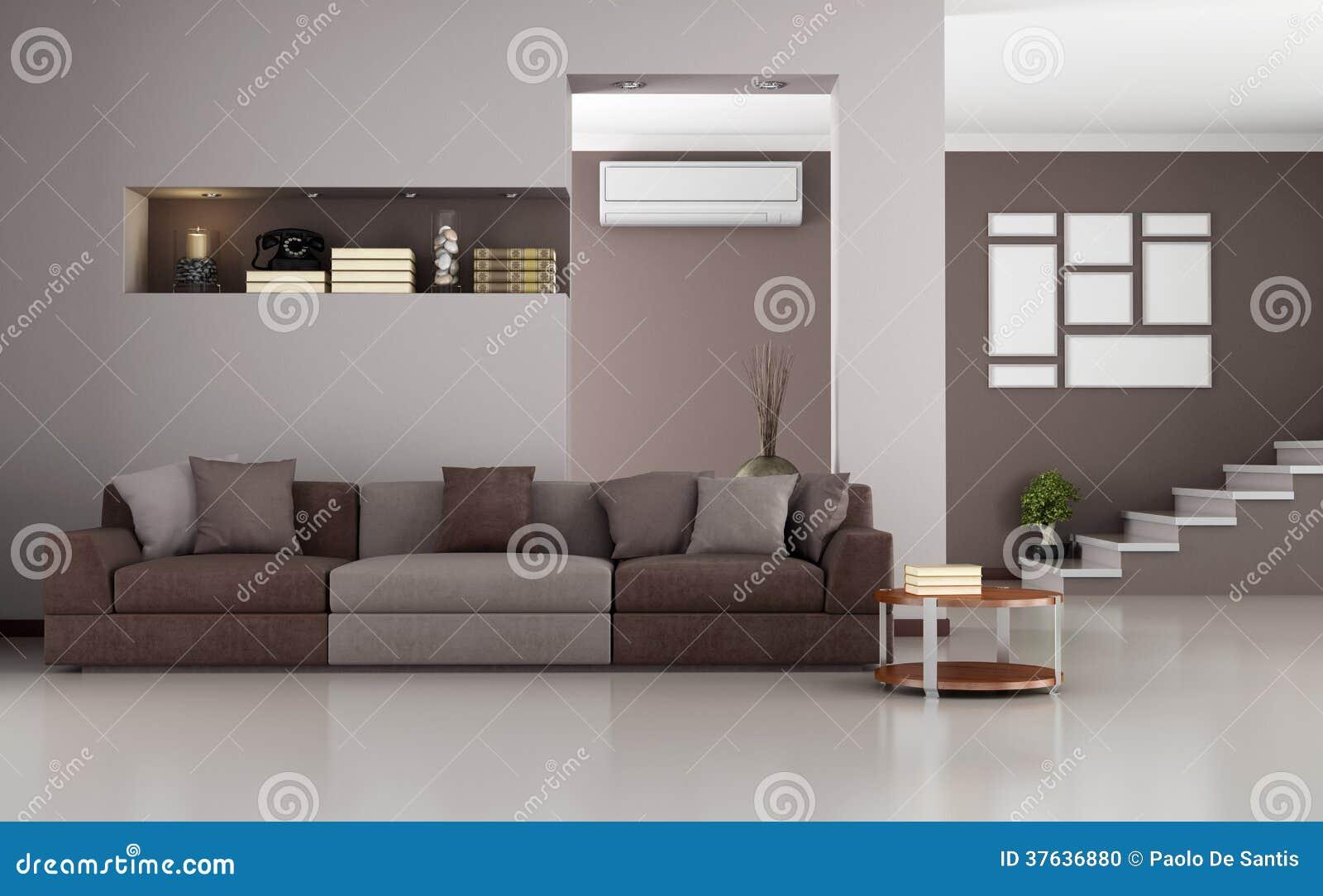 Beige Und Braunes Modernes Wohnzimmer