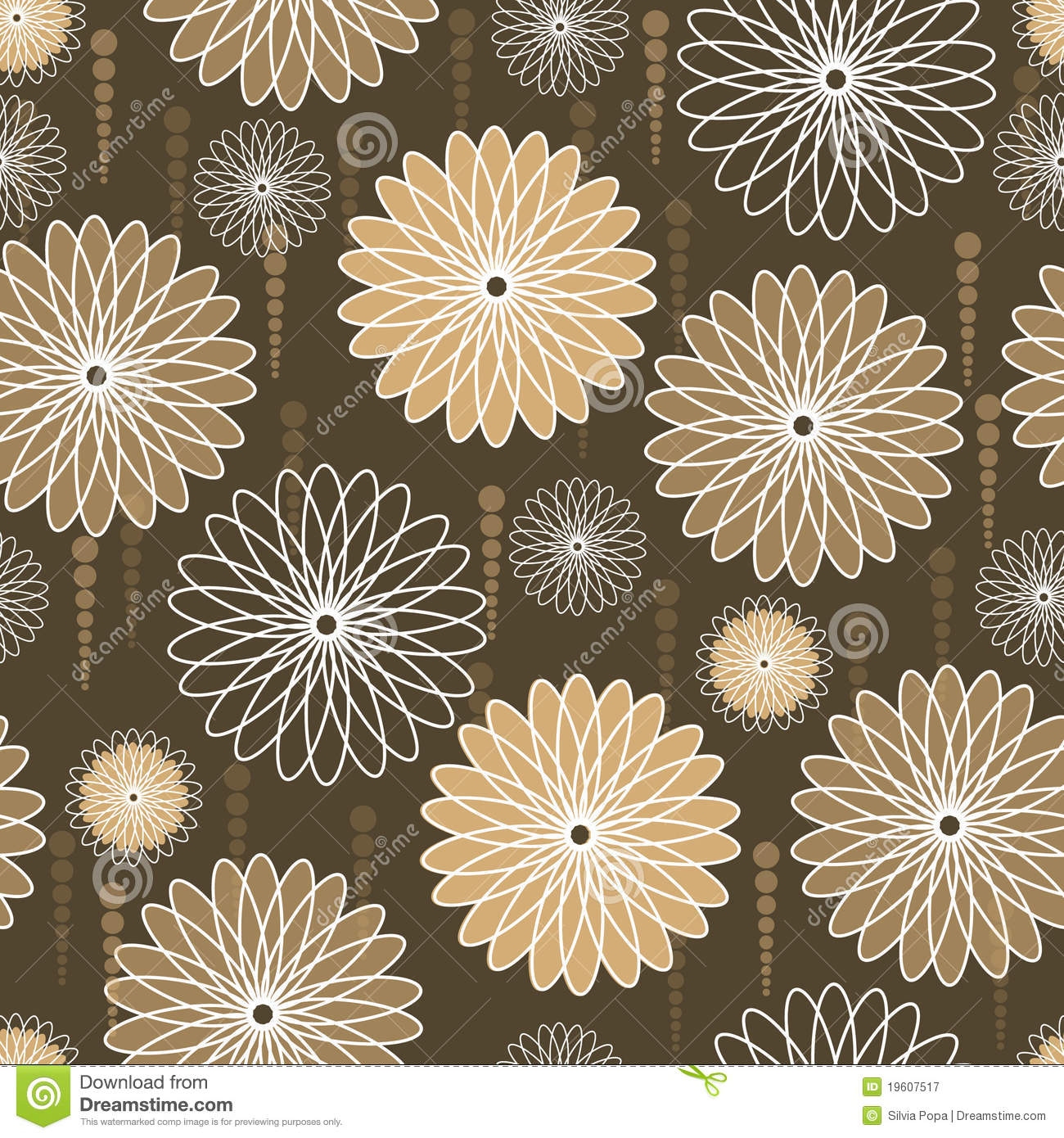 Beige And White Flowers On Brown Background Stock Vector