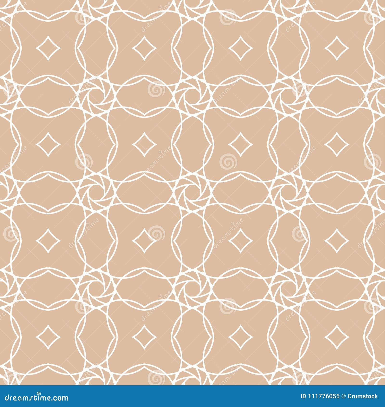 Beige and white geometric ornament. Seamless pattern