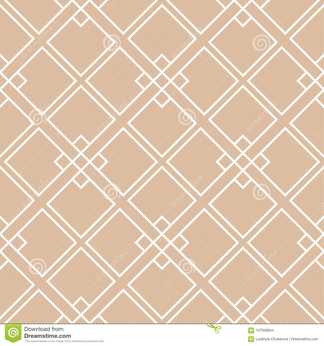 Beige and white geometric ornament. Seamless pattern