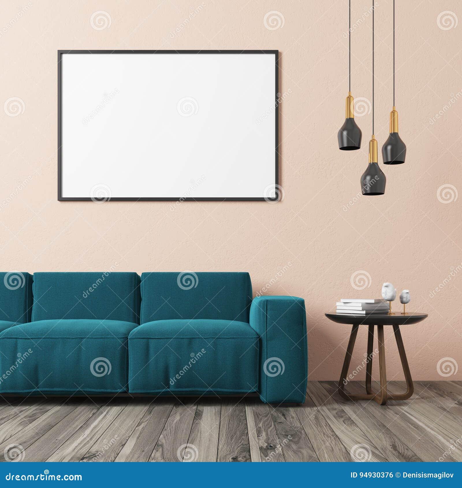 Beige Wohnzimmer, Blaues Sofa