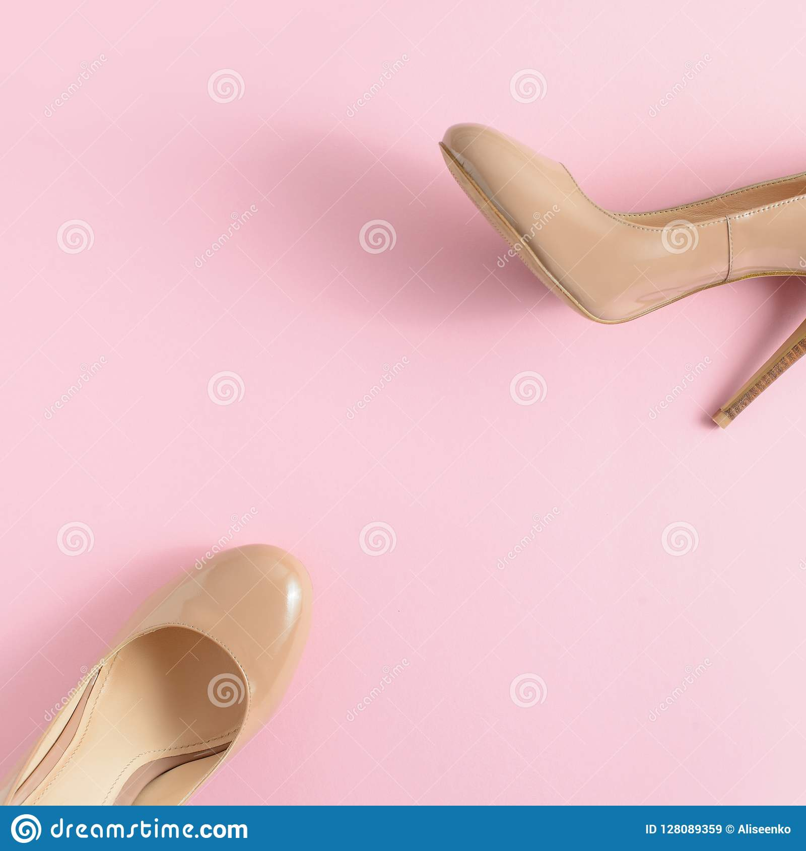 663dd8ca0d6 Beige Women High Heel Shoes On Pink Background. Fashion Blog Look ...