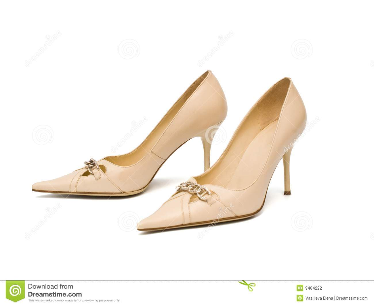 Beige women s shoes on a white background, isolated