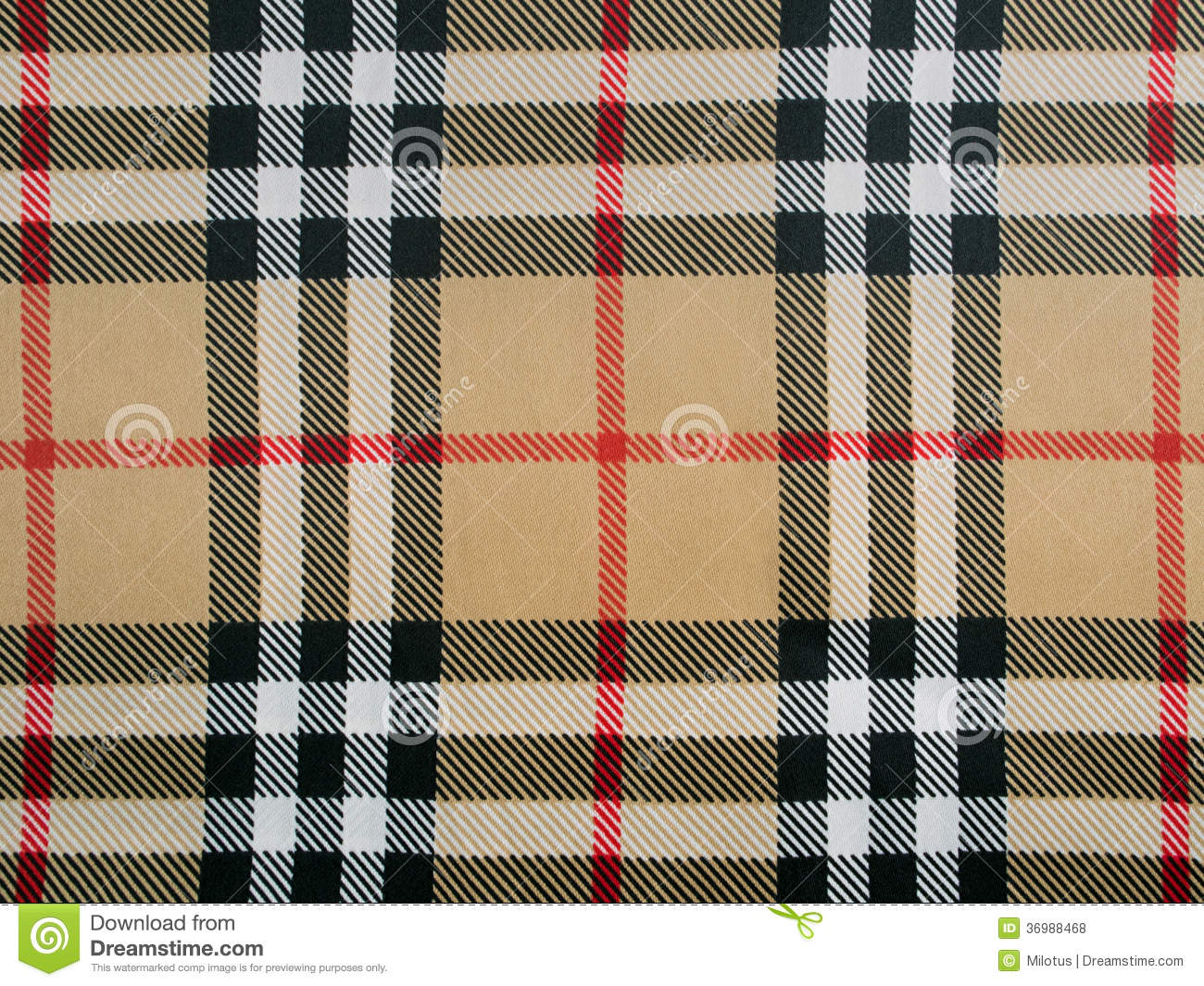 Beige Wool Plaid Fabric With Red Black And White Stripes