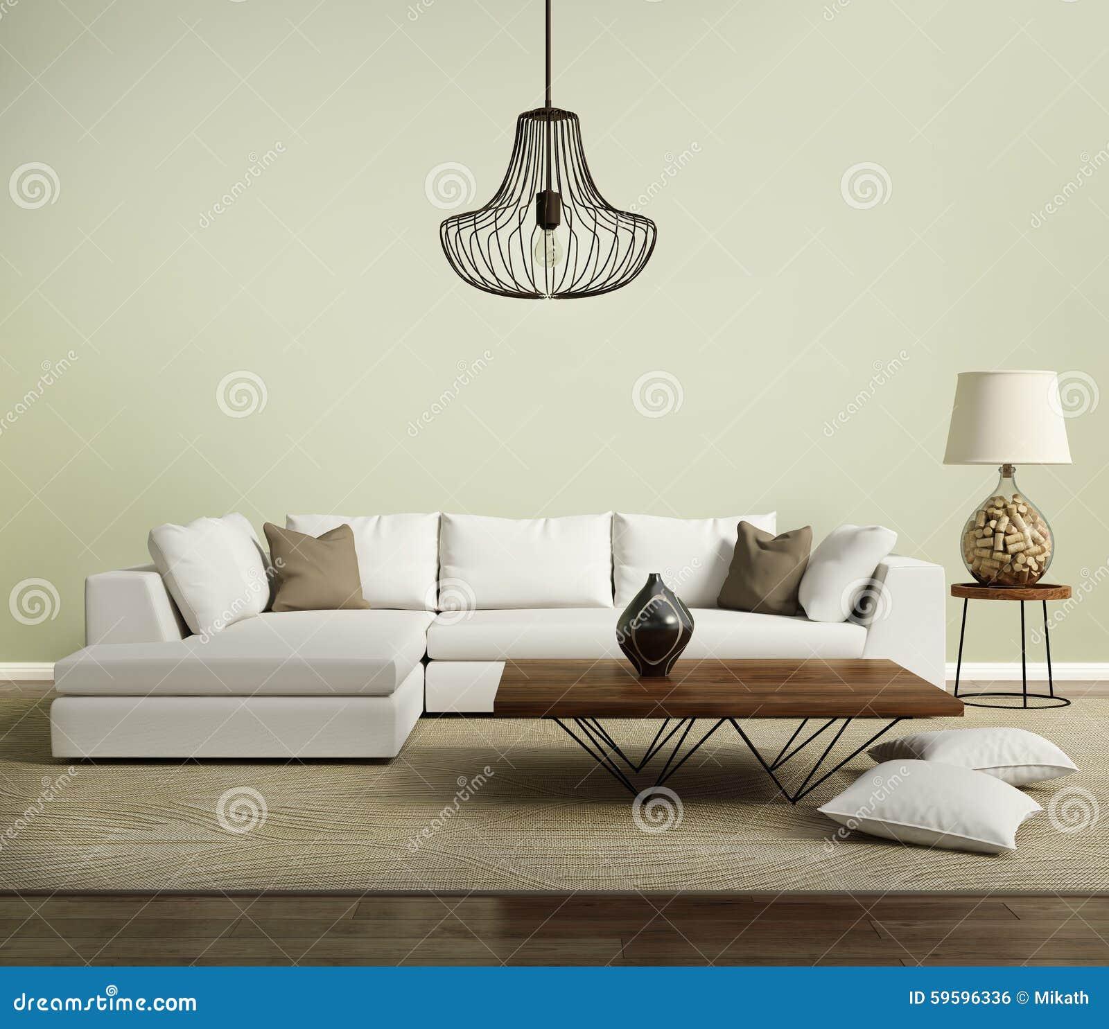 Beige Zeitgenössisches Modernes Sofa Mit Lampe Stockfoto - Bild von ...
