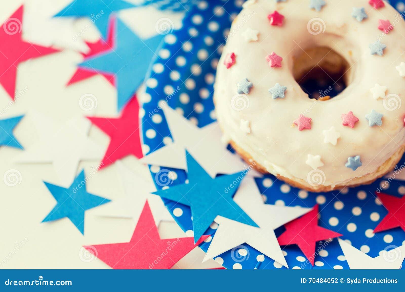 Beignet avec la décoration d étoile le Jour de la Déclaration d Indépendance