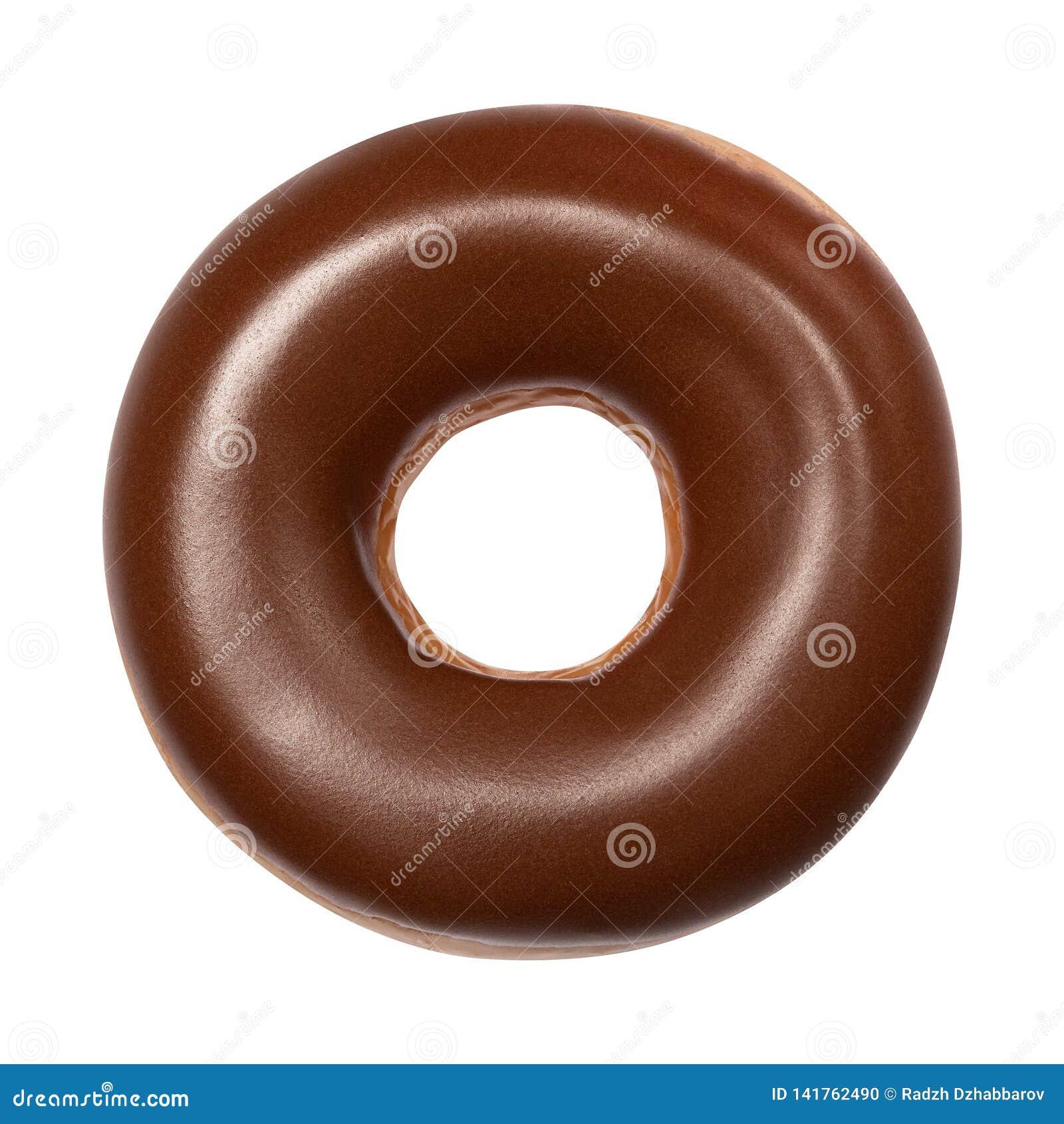 Beignet avec le lustre de chocolat d isolement sur le fond blanc Un beignet américain rond de chocolat Front View Vue supérieure