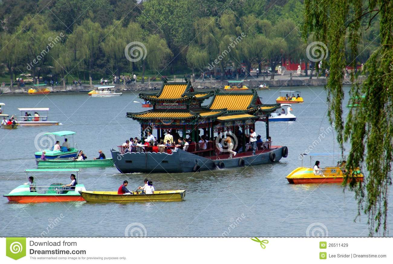 Beijing, China: Boating in Behei Park