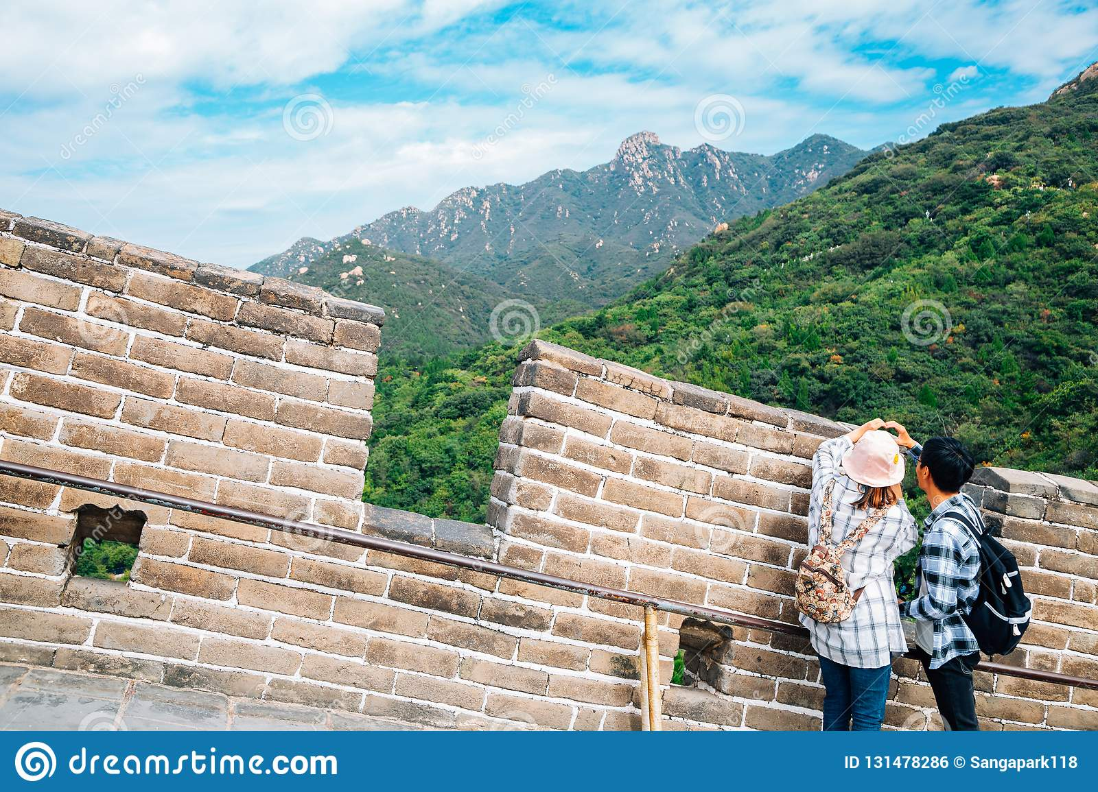 The Great Wall and tourist people in Beijing, China