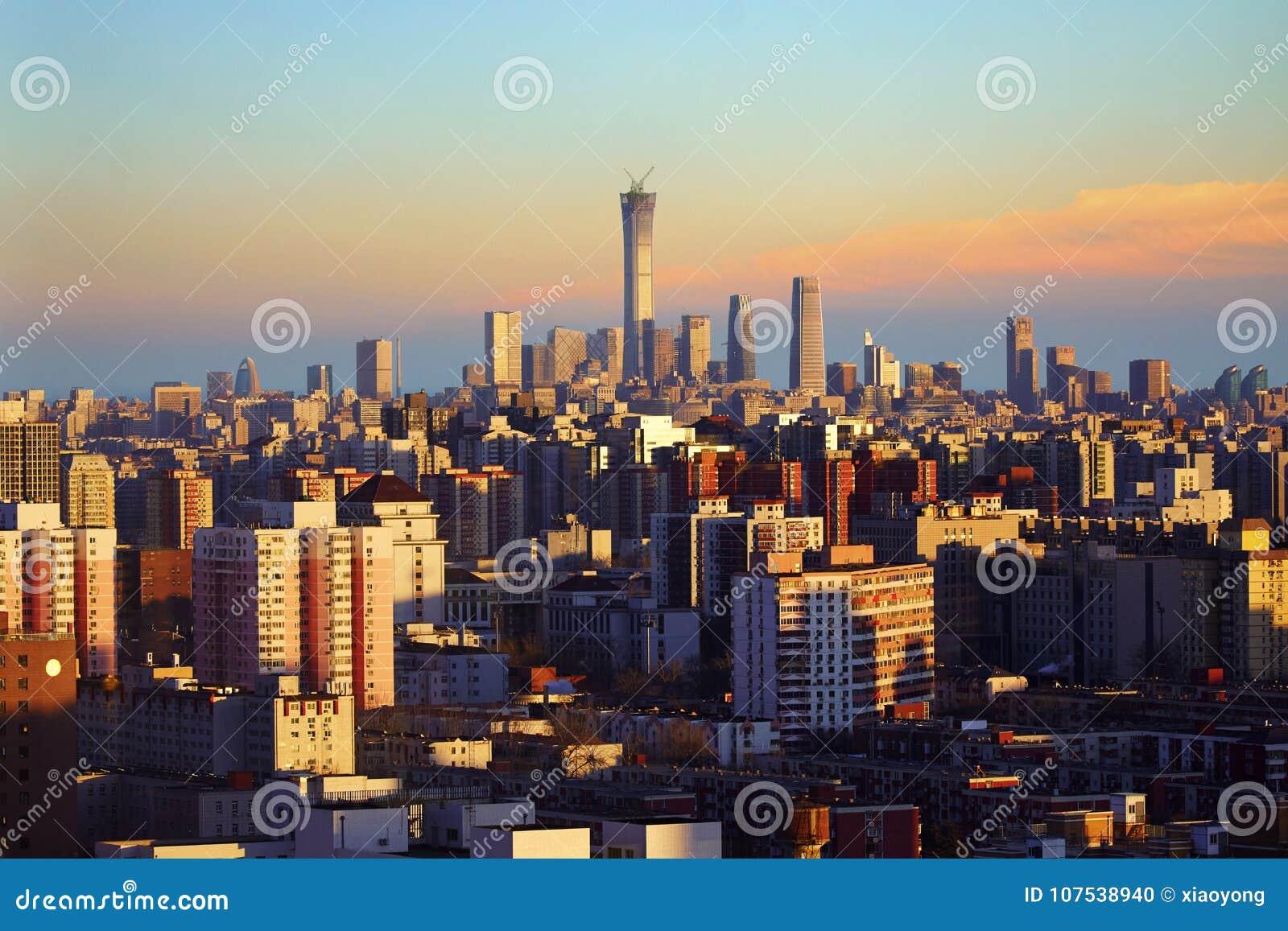 Beijing city skyline sunset, China