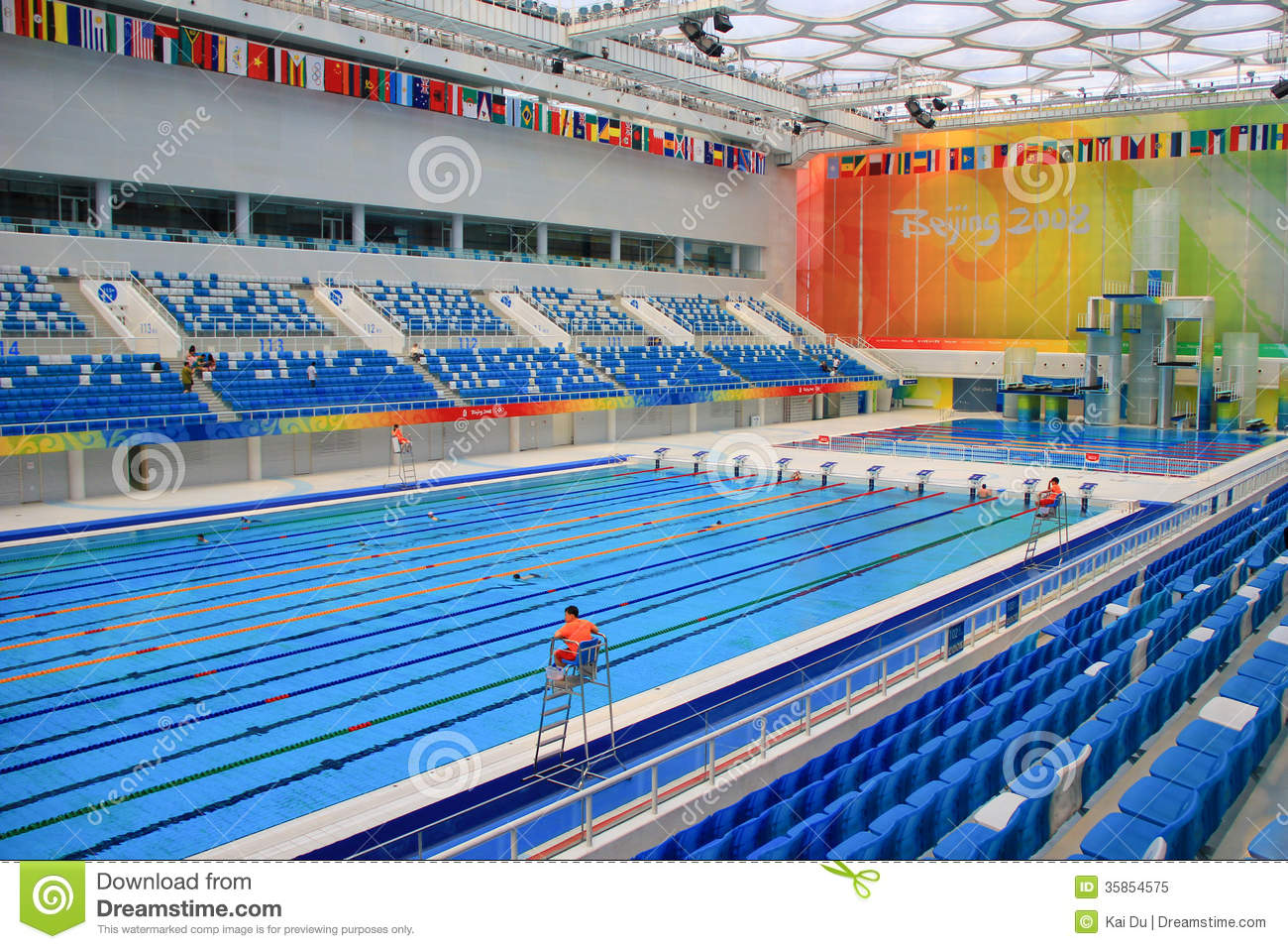 Beijing 2008 olympic swimming pool editorial image image of games cool 35854575 for Beijing swimming pool olympics