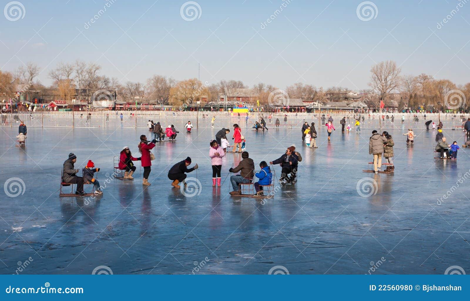 Beijing skating in Shichahai