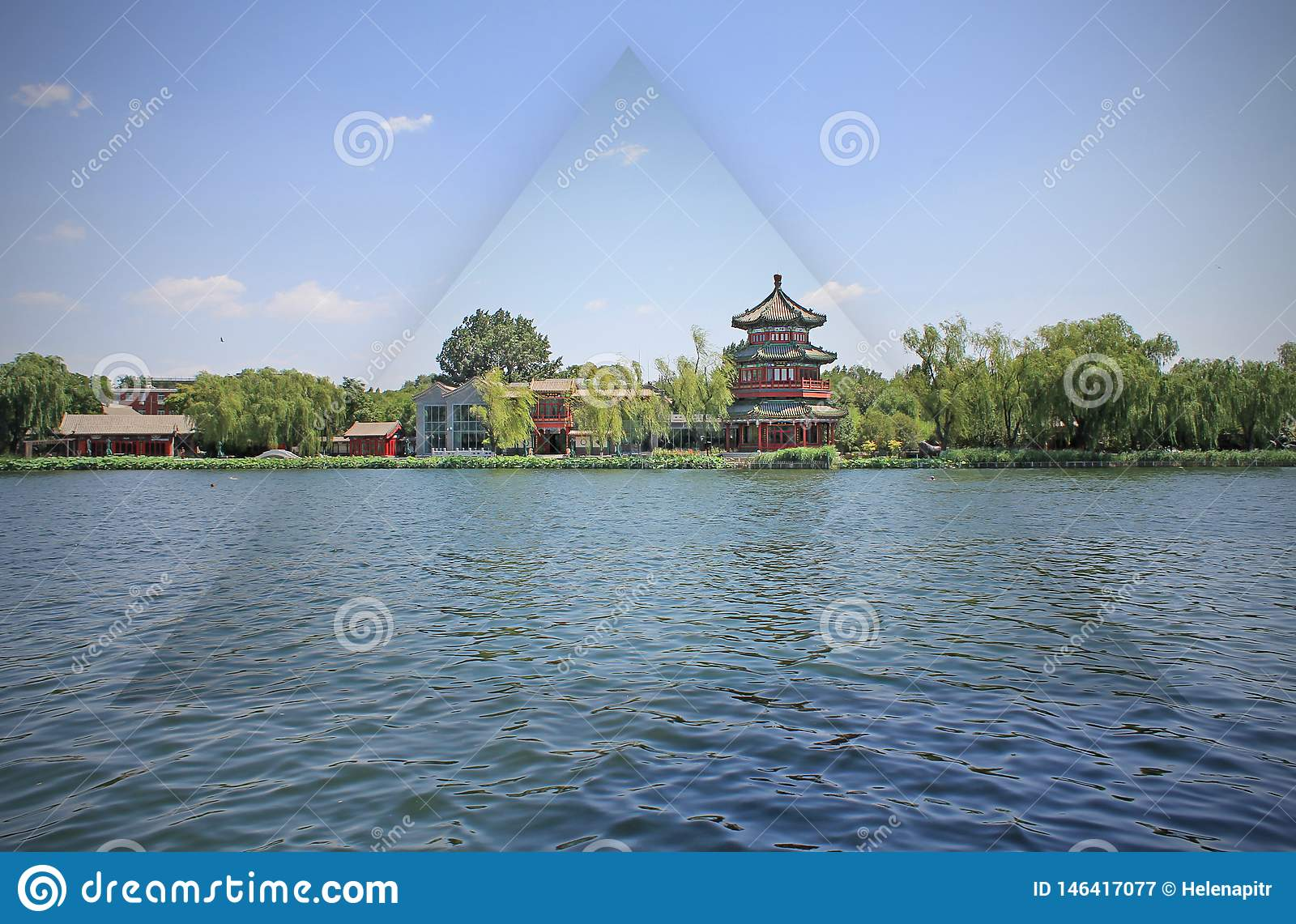Chinese park by the lake in Beijing