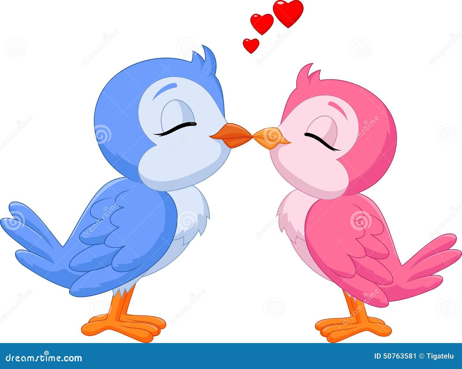 Colorido Angry Birds Personagens Vector: Beijo Dos Pássaros Do Amor Dos Desenhos Animados Dois