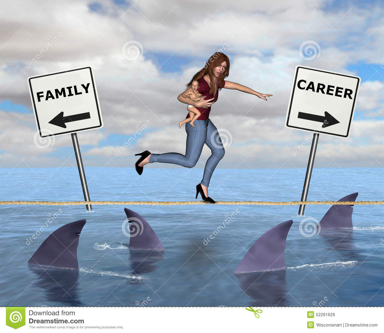 Being A Woman, Career Mom Stock Illustration