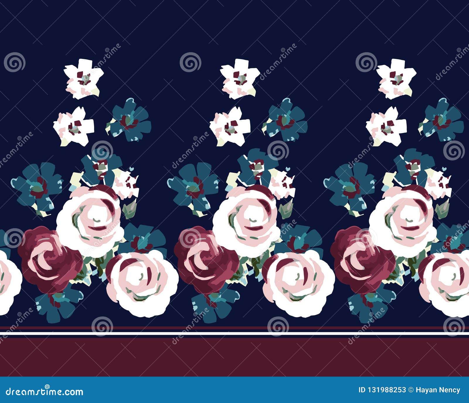 Beira da flor do vintage na marinha