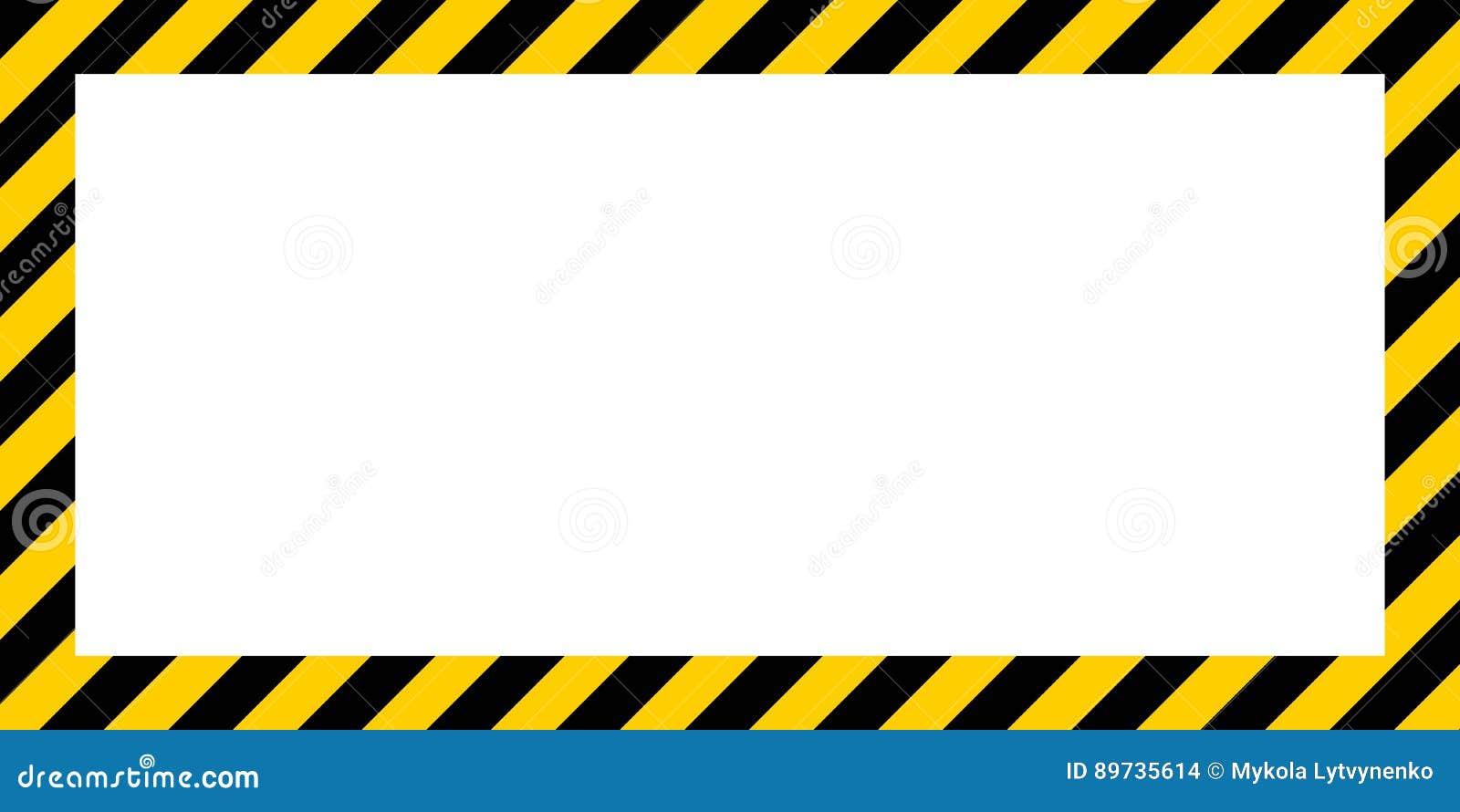 Beira de advertência da cor da construção amarela e preta da beira retangular listrada de advertência do fundo