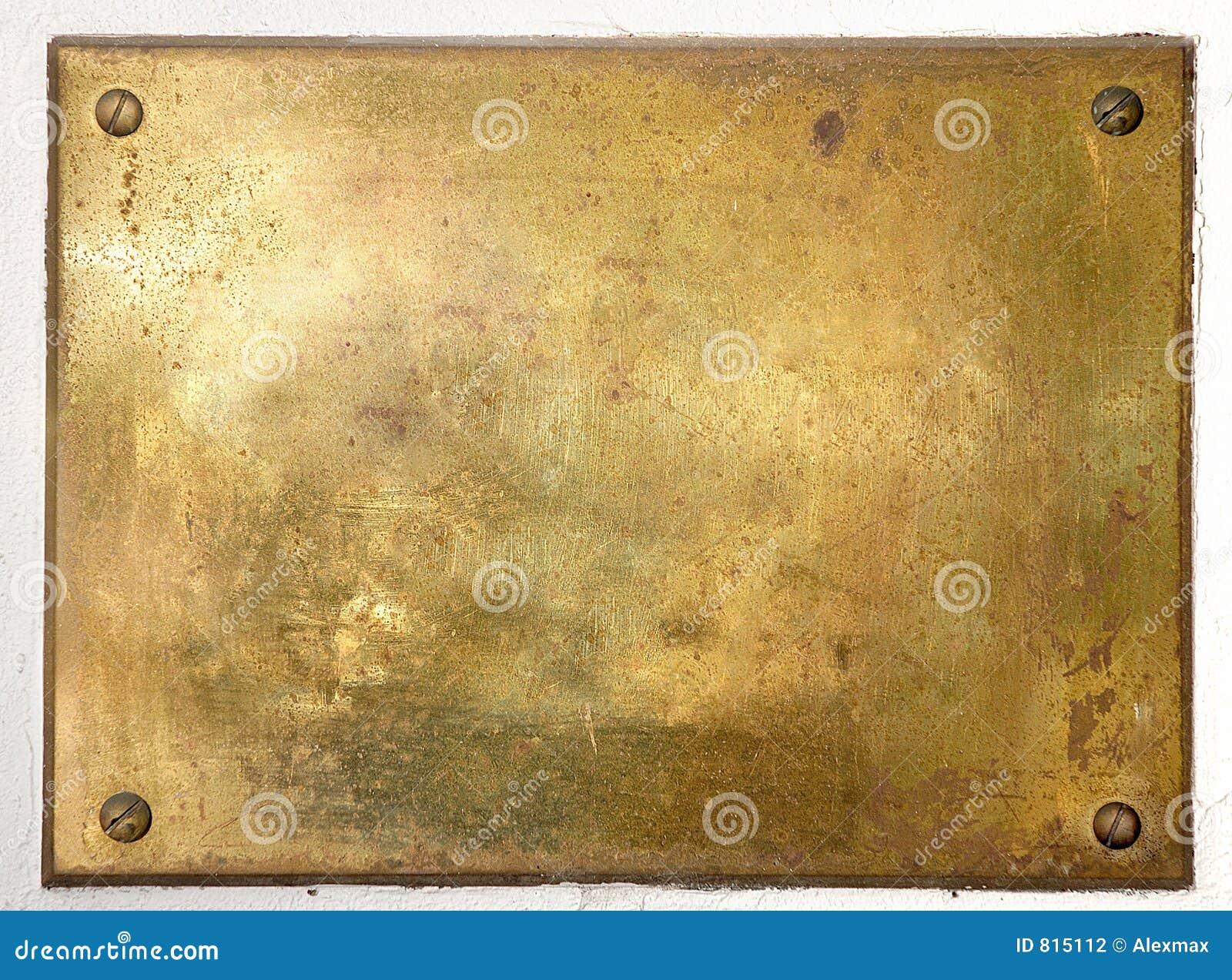 Beira de bronze amarela da placa de metal