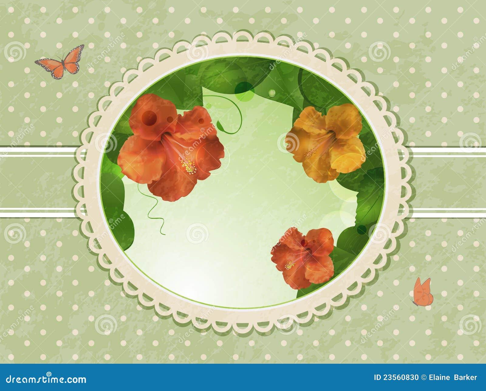 Beira do hibiscus do vintage
